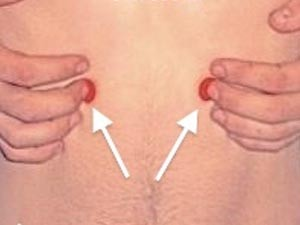 Trebušna Žalost (SP 16 - Vranica) Lokacija: Pod robom prsnega koša, polovice palca stran od linije z bradavico.