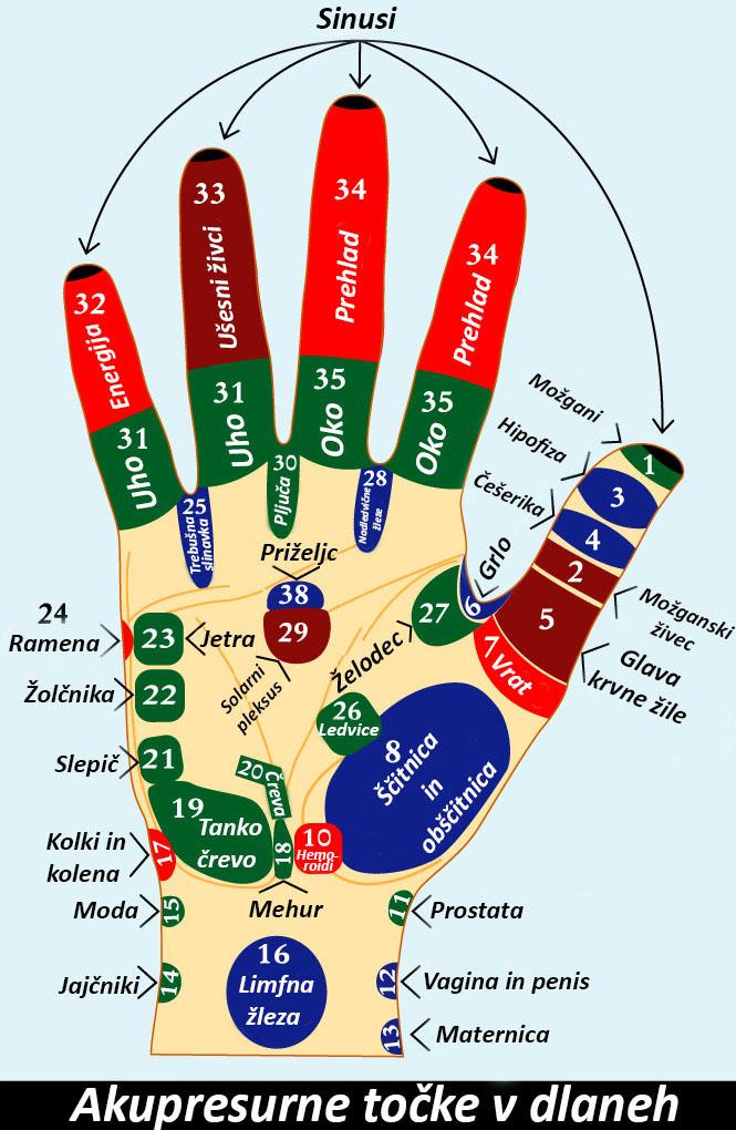 akupresurne točke v dlani