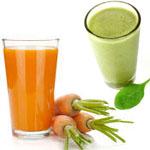 Korenčkov in špinačni sok proti gastritisu